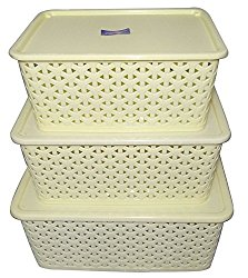 BASKET WITH LID (SET OF 3) (SMALL, MEDIUM & BIG) - IVORY