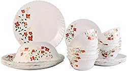 Larah Janus Opalware Glass Dinner Set, 25-Pieces, White
