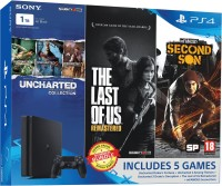 Sony PlayStation 4 (PS4) Slim 1 TB with Uncharted Collection, The Last of US Remastered and Infamous