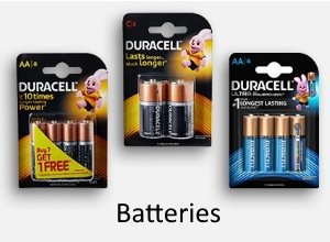 Duracell Batteries (AA, AAA, C, D and 9V) - Starts from Rs.76