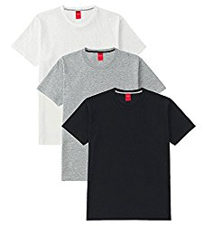 Scott International Men's Basic Cotton Round Neck Half Sleeve Solid T-shirts (Black,White,Grey)