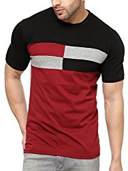 Gritstones Stylish Black / Maroon Cotton Round Neck T-Shirt