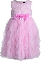Toy Balloon Kids Girl's Midi/Knee Length Party Dress (Pink)