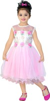 Asr Creation Girl's Midi/Knee Length Party Dress (Pink, Sleeveless)