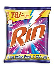 Rin Detergent Powder - 6 kg @ Rs.450