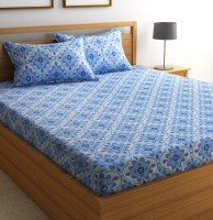 Flipkart SmartBuy Cotton Geometric Double Bedsheet (1 Double Bedsheet and 2 Pillow Covers, Blue)