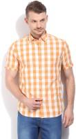 John Players Men's Checkered Casual Orange Shirt