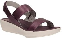 Clarks Women Purple Leather Flats