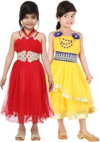 Tiny Toon Girl's Maxi/Full Length Casual Dress(Red)